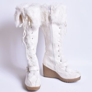 Breckelle's Faux Fur Wedge Boots, Sz 6